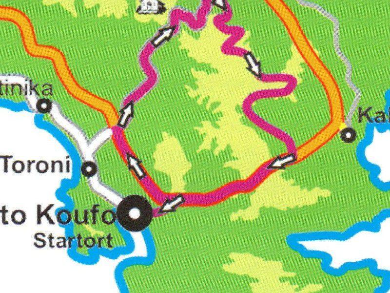 Cycling route Porto Koufo